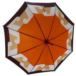 Schirm Damenschirm orange-braun VINTAGE 1970s Holzgriff
