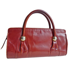 Tasche Leder bordeaux mit 2 Lederhenkeln 70s