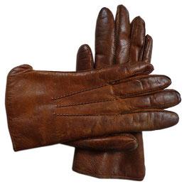 Handschuhe  Gr. S/M Leder braun gefüttert Fell VINTAGE 1960s