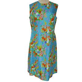 Kleid Seide VINTAGE 1960s türkis m.buntem Muster Gr. L/XL