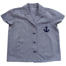 Bluse Gr. XS/S Baumwolle hellblau kA VINTAGE 1960s Navy Anker
