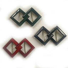 Gürtelschnallen eckig VINTAGE 1930s dunkelgrün, dunkelrot und schwarz