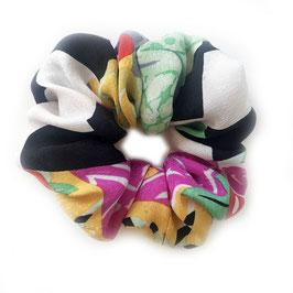 Scrunchie Seide made by Silvia-K schwarz-weiss-bunt