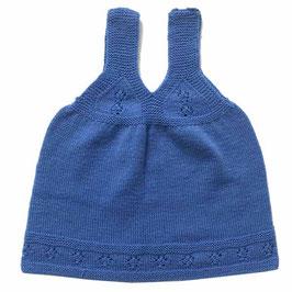 Babykleidchen 0-6 Monate handgestrickt blau VINTAGE 1950s
