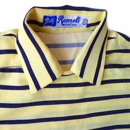Herrenhemd Gr. S gelb-schwarz Baumwollreps VINTAGE 1950s