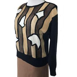 Pullover mit Leder-Patchwork WALTER GROSS Vintage 1980s Gr. L