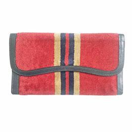 Portemonnaie Geldtasche Velours rot Streifen Leder Locher VINTAGE 1970s