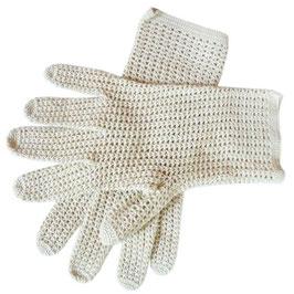 Handschuhe Gr. S Sommer Baumwollgarn VINTAGE 1950s écru gehäkelt
