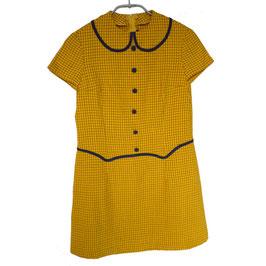 Mädchenkleid gelb kariert 8-9 Jahre 50s NOS