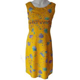 Kleid oA Seide gelb gemustert VINTAGE 1970s Gr. S
