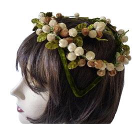 Haarschmuck Kopfputz Samt oliv mit Blütenschmuck