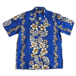 Hemd Herren Hawaiihemd VINTAGE blau 80s Malven Gr. S