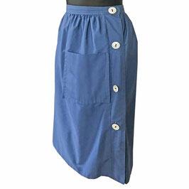 Jupe Rock skirt Gr. M/L petrol blau seitlicher Knopfverschluss grosse Tasche VINTAGE 1950s