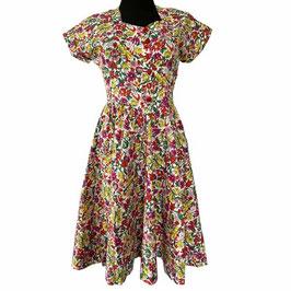 Kleid Sommerkleid Gr. 40 Blumendruck Bakelitknöpfe VINTAGE 1950s