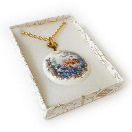 Halskette mit Anhänger Schäferszene z.Aufklappen 70s
