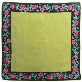 Taschentuch Damen-Taschentuch VINTAGE 1960s olivgrün mit Blumenrand