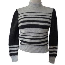 Pullover  Gr. S/M handgestrickt VINTAGE  1950s Streifen schwarz-grau