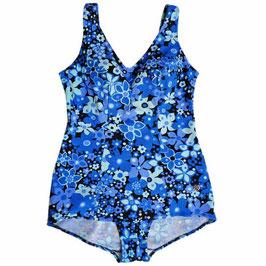 Badekleid Gr. L/XL Badeanzug 60s blau geblumt Schösschen