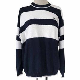 Pullover Herren M/L Damen S-XL LACOSTE weiss-dunkelblau VINTAGE 1980s