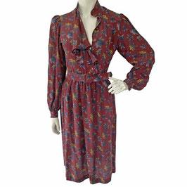 Kleid Gr. M EMANUEL UNGARO Designer Vintage OSCAR ROM Seide Blätter bordeaux
