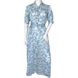 Nachthemd Gr. S/M feinster Baumwollbatist blau-weiss geblumt VINTAGE 1940s