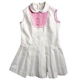 Mädchenkleid weiss mit rosa 7-8 Jahre 50s NOS