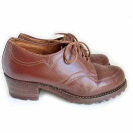 Halbschuhe Schuhe Gr. 36 braun robust Gummisohle rahmengenäht VINTAGE 1940s