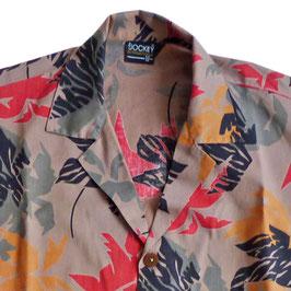 Hemd Gr. S Herren Hawaiihemd VINTAGE braun Blätter
