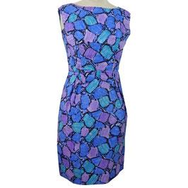Kleid Ensemble Seide Couture Kurzarm-Jacke blau-lila 1960s VINTAGE Gr. S