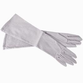 Handschuhe Gr. XS festlich, lang Satin elastisch hellgrau VINTAGE 1960s