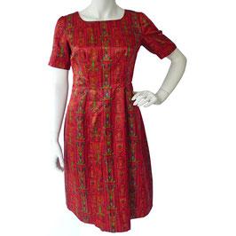 Kleid Gr. S/M kA Satin dunkelrot gemustert VINTAGE 1960s