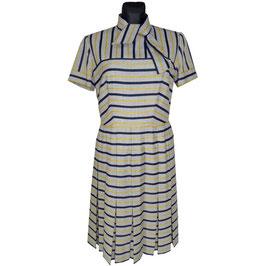 Kleid Gr. L Marine-Look gestreift mit Falten VINTAGE 1960s