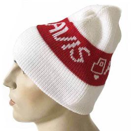 Mütze Skimütze weiss-rot AVIS Vintage 1980s