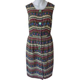 Kleid Baumwolle oA VINTAGE 1960s Bordürendruck Gr. M/L