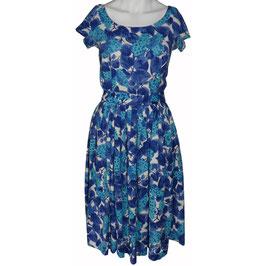 Kleid Gr. S Sommerkleid VINTAGE 1960s Rosen blau-türkis-weiss