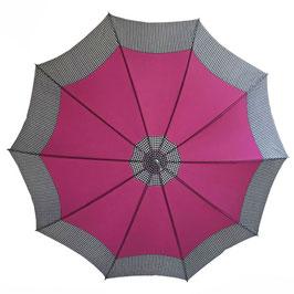 Schirm Damenschirm magenta Prince-de-Galles VINTAGE 1960 mit Futteral
