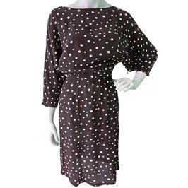 Kleid Gr. S Rückenausschnitt VINTAGE 1970s schwarz Dots