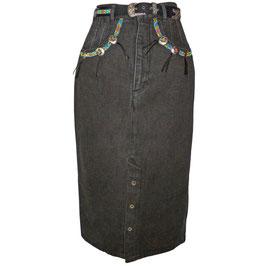 Jupe Rock  Gr. S/M Jeans blauschwarz Boho VINTAGE 1980s