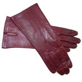Handschuhe Gr. XS Leder rot bordeaux Seidenfutter VINTAGE 1970s