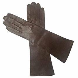 Handschuhe Damen Gr. S lang braun feinstes Leder VINTAGE 1960s