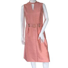 Kleid Partykleid Gr. S Rohseide peach lachs VINTAGE 1960s