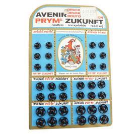 Druckknöpfe schwarz div. Grössen PRYM Zukunft Originalkarte 2 - VINTAGE 1970s