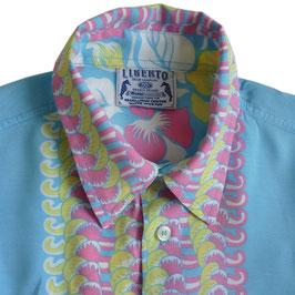 Hemd Gr. M Herren Hawaiihemd aqua geblumt VINTAGE
