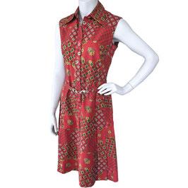 Kleid Gr. S/M ärmellos rot Provence-Druck VINTAGE 1960s
