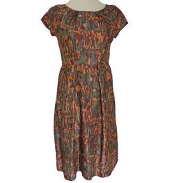 Kleid Gr. S/M Seide VINTAGE 1950s braun gemustert