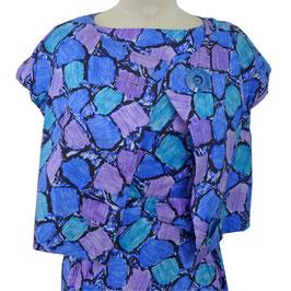 Kleid Gr. S Ensemble Seide Couture Kurzarm-Jacke blau-lila 1960s VINTAGE