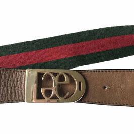 Gürtel Elegance E-Boutique Textil grün-rot VINTAGE 1980s 65-73 cm