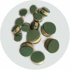 Knöpfe grün-beige 1950s 14 Stk.