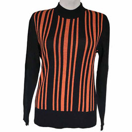 Pullover schwarz mit orangen Streifen Vintage NOS 1970s Gr. M/L