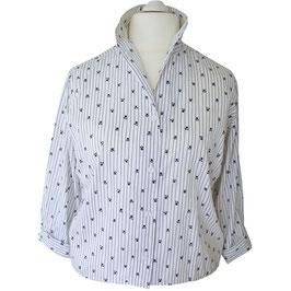 Bluse weiss-blau VINTAGE Baumwolle 50s Gr. XXL